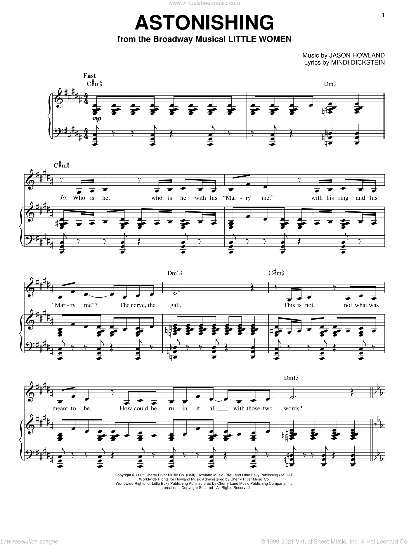 Astonishing sheet music for voice, piano or guitar by Mindi Dickstein