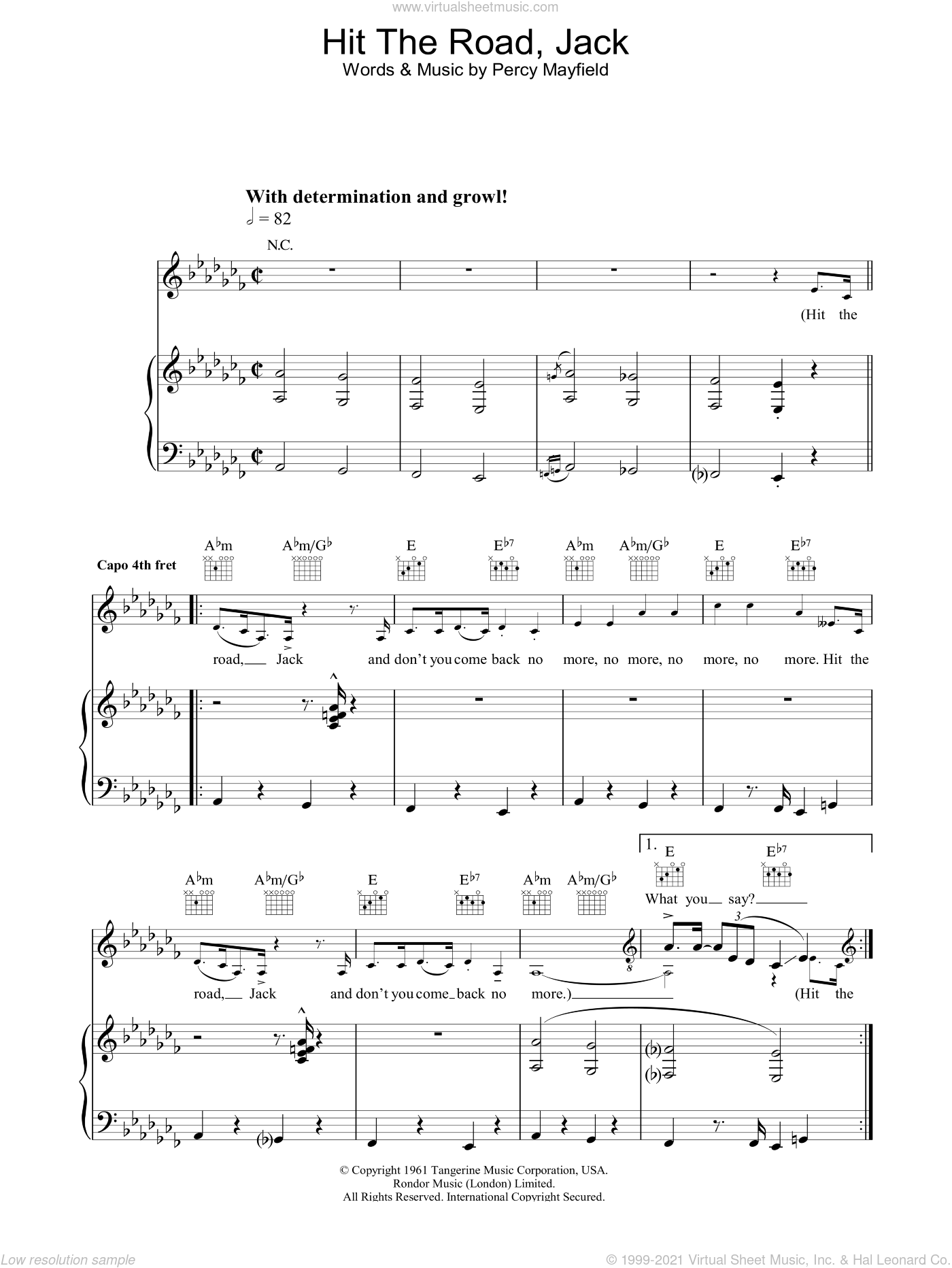 Hit The Road Jack sheet music for voice, piano or guitar by Percy Mayfield and Ray Charles. Score Image Preview.