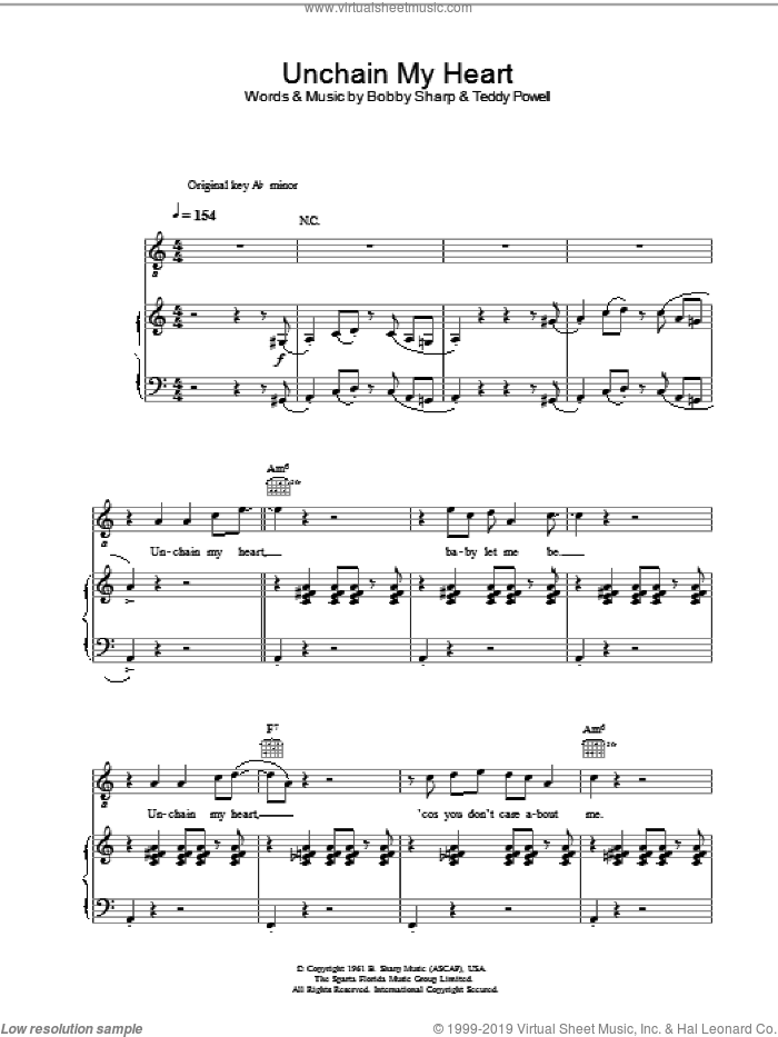 Unchain My Heart sheet music for voice, piano or guitar by Teddy Powell, Ray Charles and Bobby Sharp. Score Image Preview.
