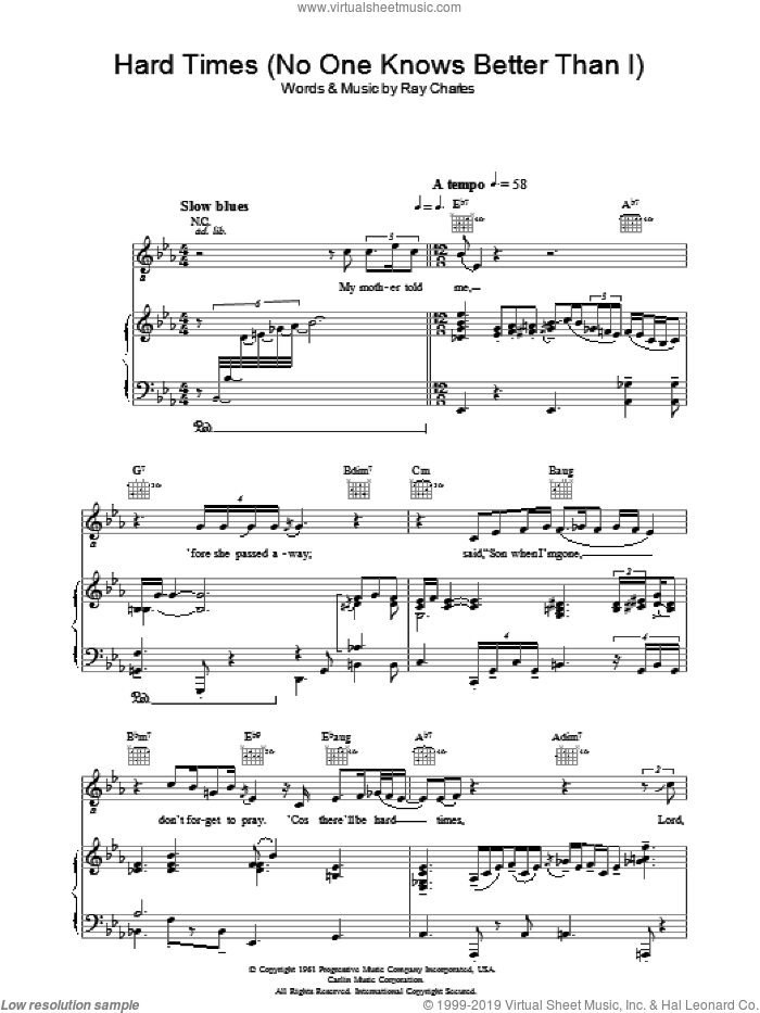 Hard Times sheet music for voice, piano or guitar by Ray Charles, intermediate skill level