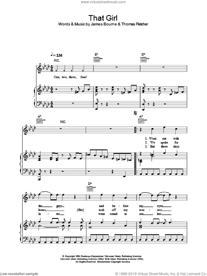 That Girl sheet music for voice, piano or guitar by Thomas Fletcher and James Bourne. Score Image Preview.