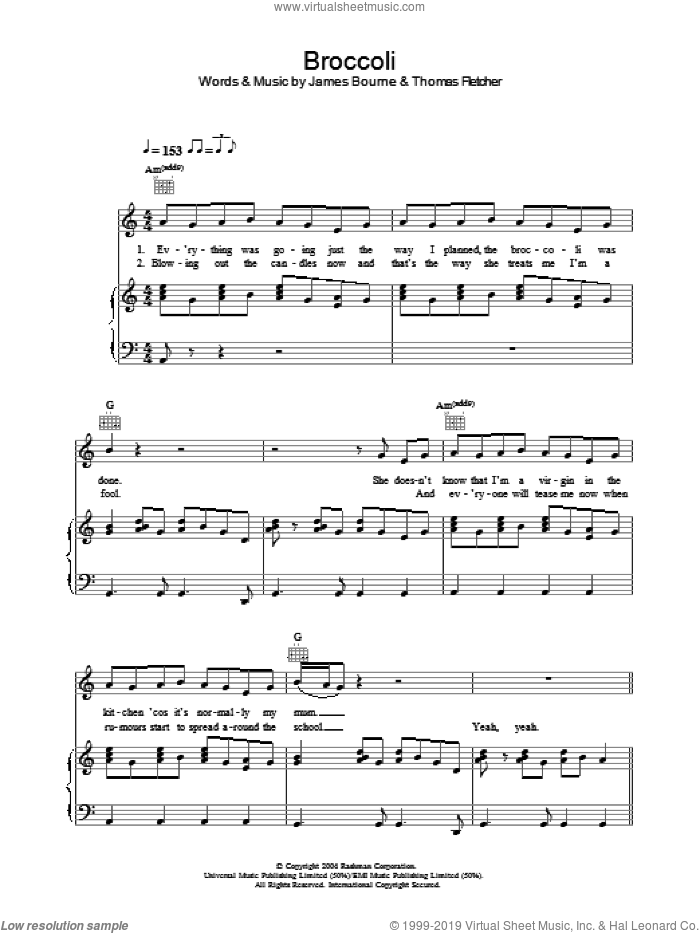 Broccoli sheet music for voice, piano or guitar by McFly, James Bourne and Thomas Fletcher, intermediate