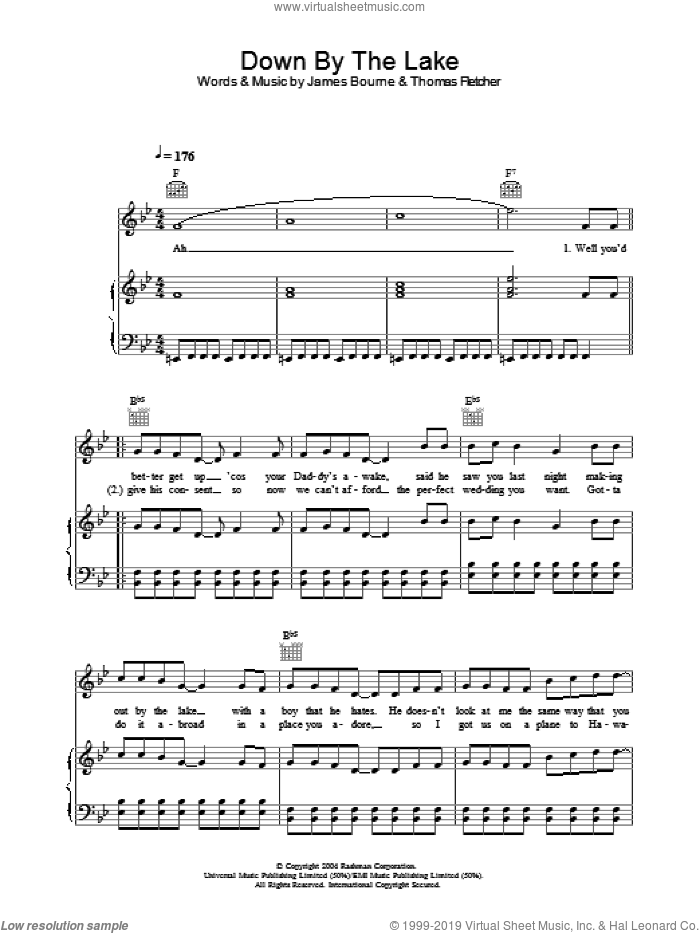 Down By The Lake sheet music for voice, piano or guitar by Thomas Fletcher and James Bourne. Score Image Preview.