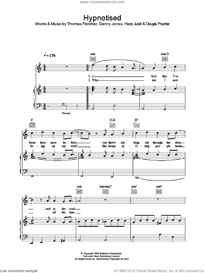 Hypnotised sheet music for voice, piano or guitar by Thomas Fletcher