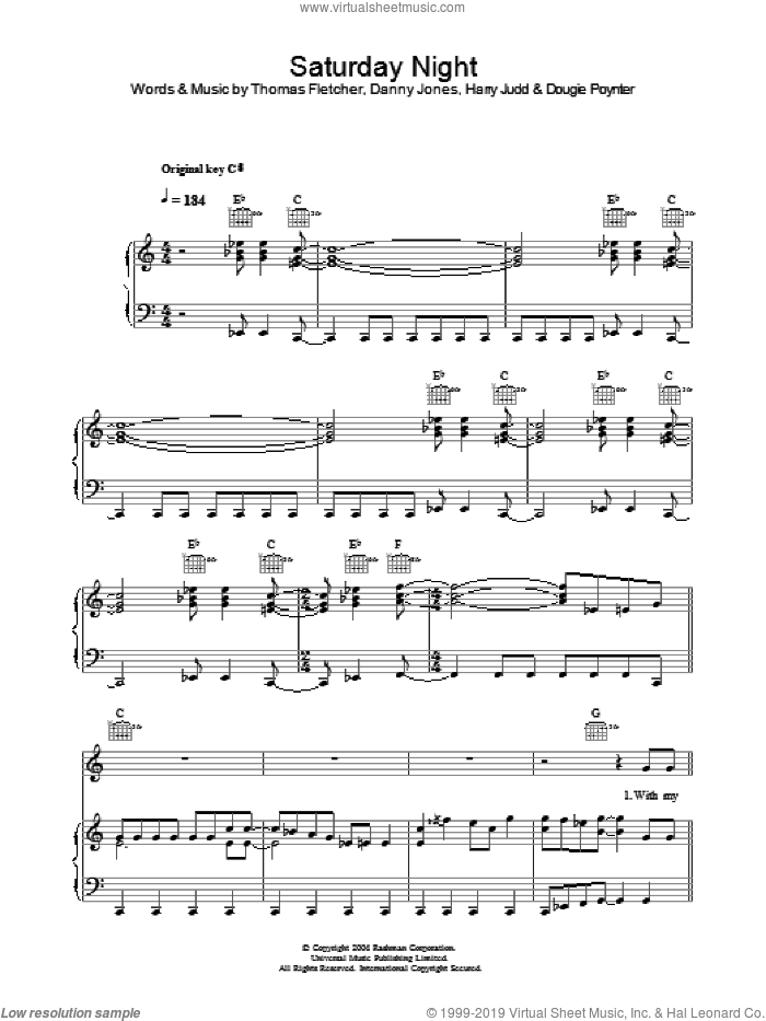 Saturday Night sheet music for voice, piano or guitar by McFly and Danny Jones. Score Image Preview.