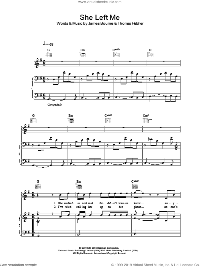She Left Me sheet music for voice, piano or guitar by Thomas Fletcher and James Bourne. Score Image Preview.