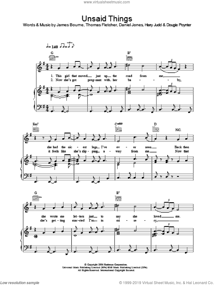 Unsaid Things sheet music for voice, piano or guitar by McFly, Danny Jones, Dougie Poynter, Harry Judd, James Bourne and Thomas Fletcher, intermediate. Score Image Preview.