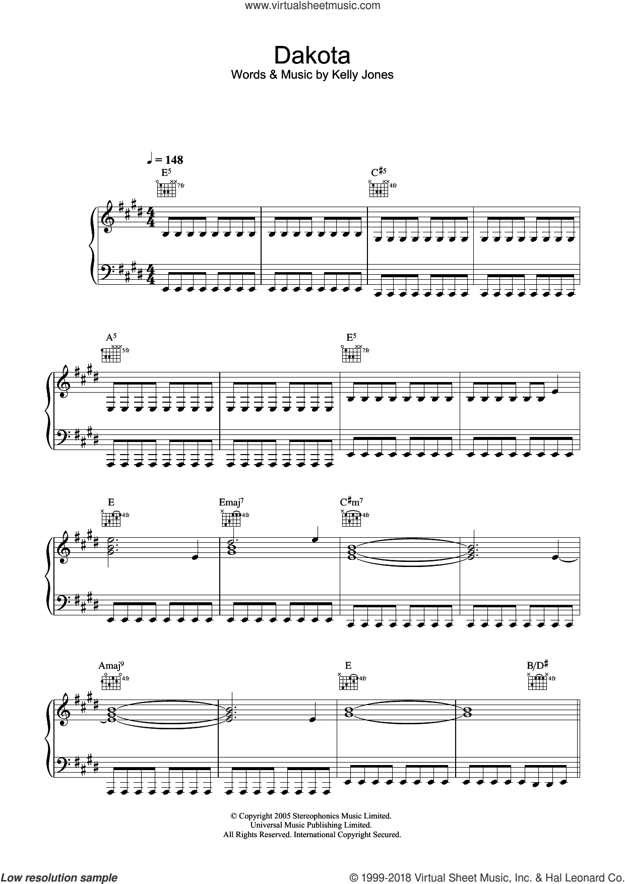 Dakota sheet music for voice, piano or guitar by Stereophonics and Kelly Jones, intermediate skill level