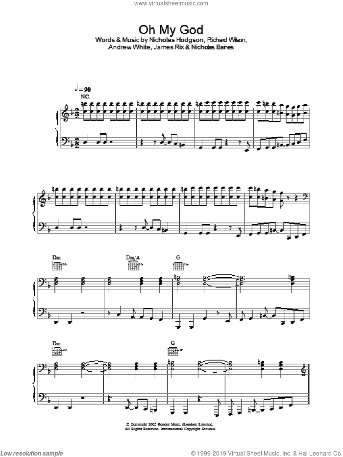 Oh My God sheet music for voice, piano or guitar by Richard Wilson, Andrew White and Nicholas Hodgson. Score Image Preview.