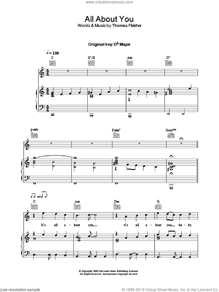 All About You sheet music for voice, piano or guitar by McFly and Thomas Fletcher, intermediate skill level