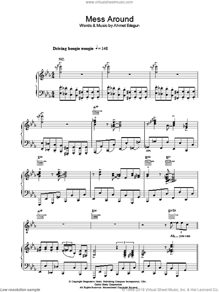 Mess Around sheet music for voice, piano or guitar by Ray Charles and Ahmet Ertegun, intermediate skill level