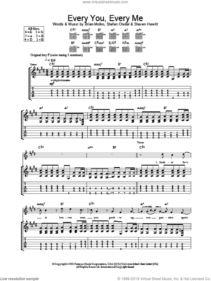 Every You Every Me sheet music for guitar (tablature) by Steve Hewitt