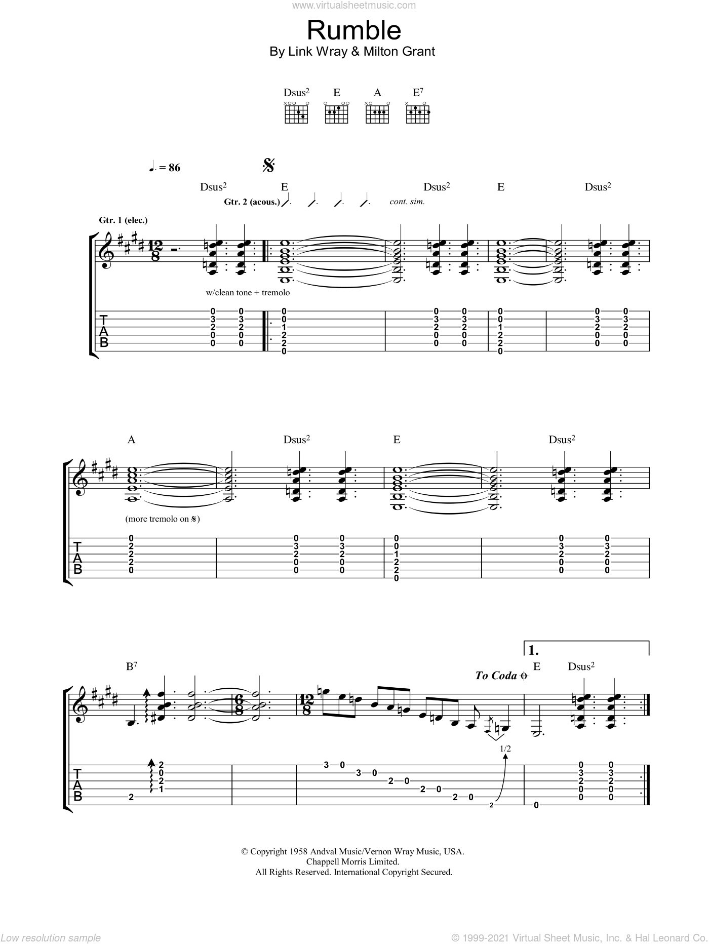 Rumble sheet music for guitar (tablature) by Milton Grant and Milt Grant. Score Image Preview.