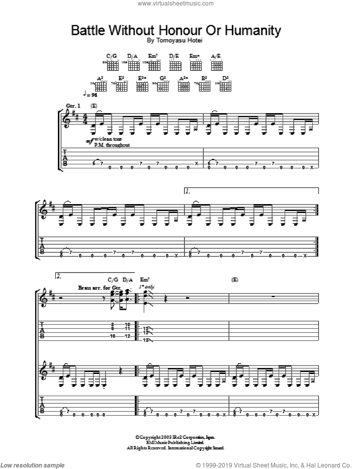 Battle Without Honor Or Humanity sheet music for guitar (tablature) by Tomoyasu Hotei, intermediate skill level