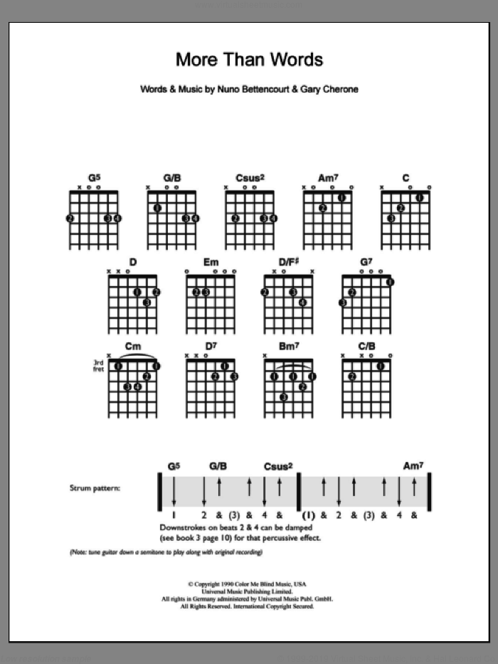 More Than Words sheet music for guitar solo (chords) by Nuno Bettencourt, Extreme and Gary Cherone. Score Image Preview.