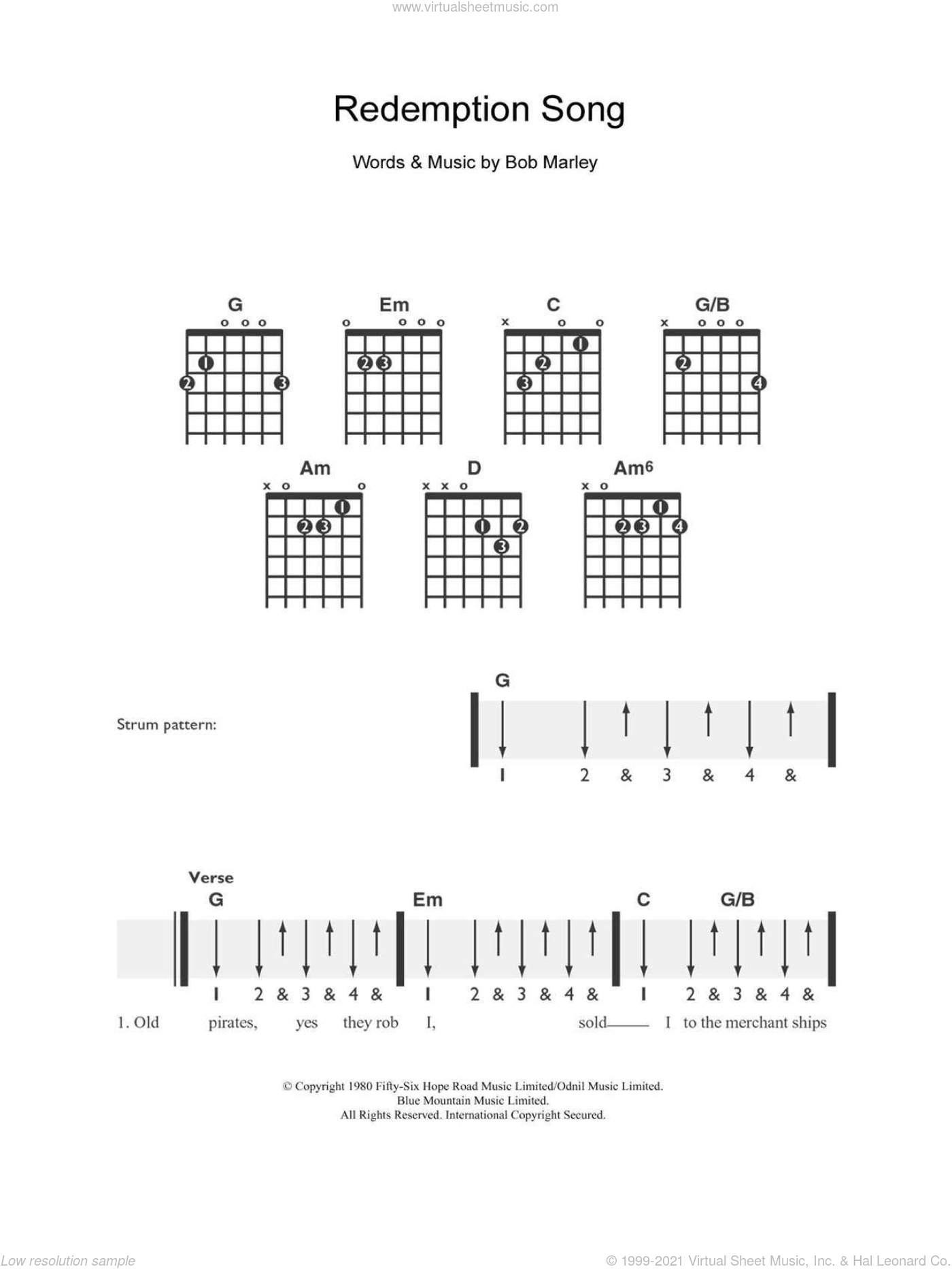 Marley - Redemption Song sheet music (easy) for guitar solo (chords)
