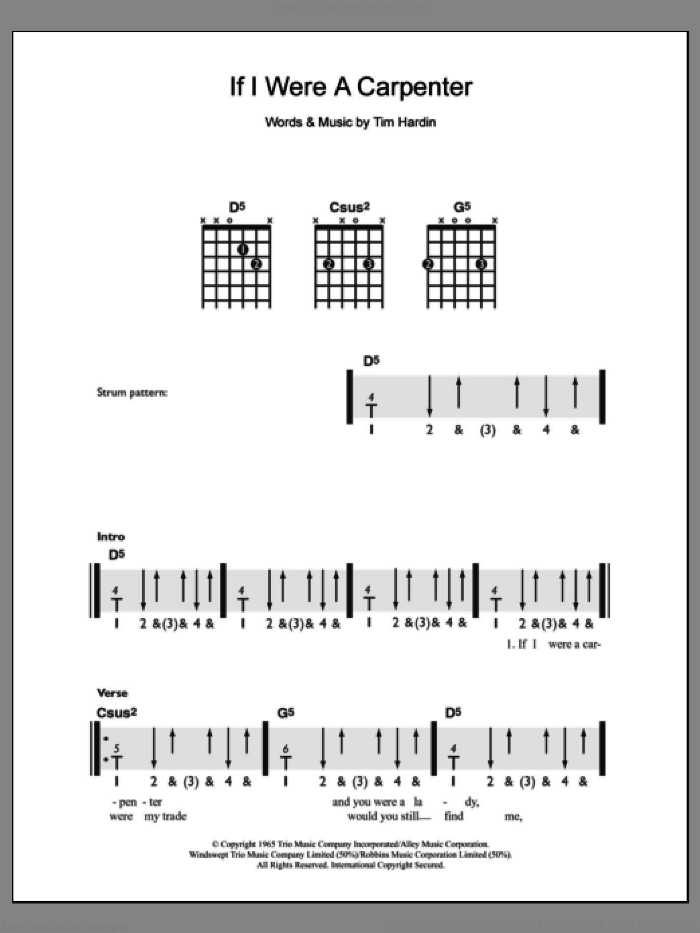 If I Were A Carpenter sheet music for guitar solo (chords) by Tim Hardin and Bobby Darin. Score Image Preview.