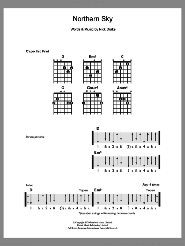 Northern Sky sheet music for guitar solo (chords) by Nick Drake, easy guitar (chords)