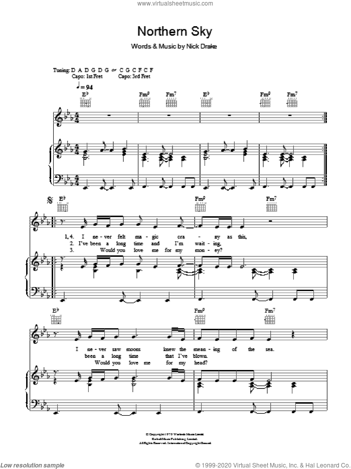 Northern Sky sheet music for voice, piano or guitar by Nick Drake. Score Image Preview.