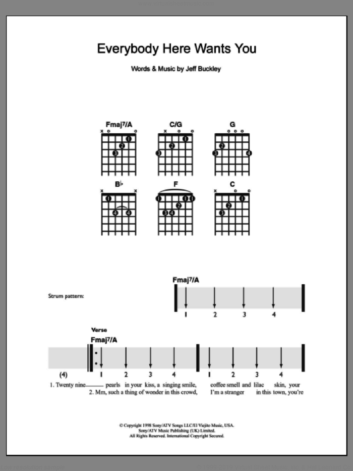 Everybody Here Wants You sheet music for guitar solo (chords) by Jeff Buckley