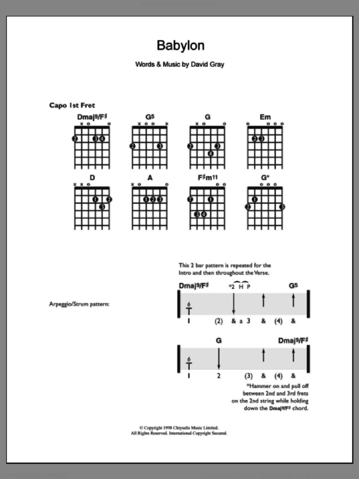 Babylon sheet music for guitar solo (chords) by David Gray, easy guitar (chords)