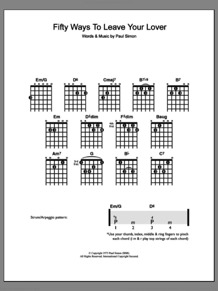 Fifty Ways To Leave Your Lover sheet music for guitar solo (chords) by Paul Simon, easy guitar (chords)