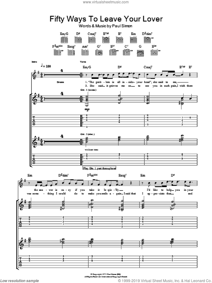 Fifty Ways To Leave Your Lover sheet music for guitar (tablature) by Paul Simon. Score Image Preview.