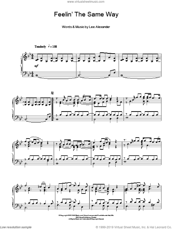 Feelin' The Same Way sheet music for piano solo by Lee Alexander and Norah Jones. Score Image Preview.
