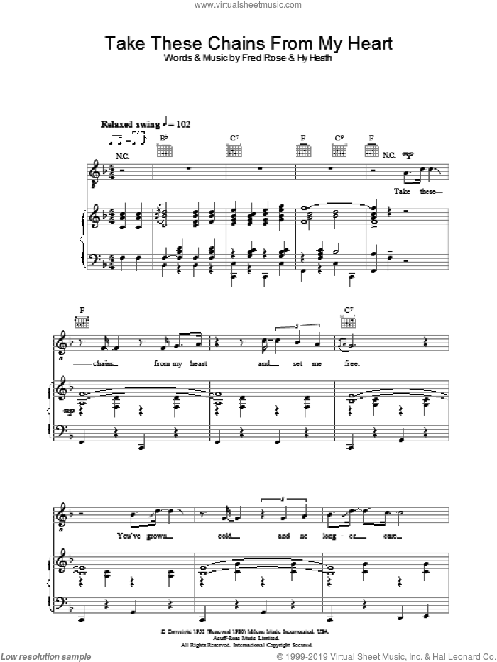 Take These Chains From My Heart sheet music for voice, piano or guitar by Hank Williams, Fred Rose and Hy Heath, intermediate skill level