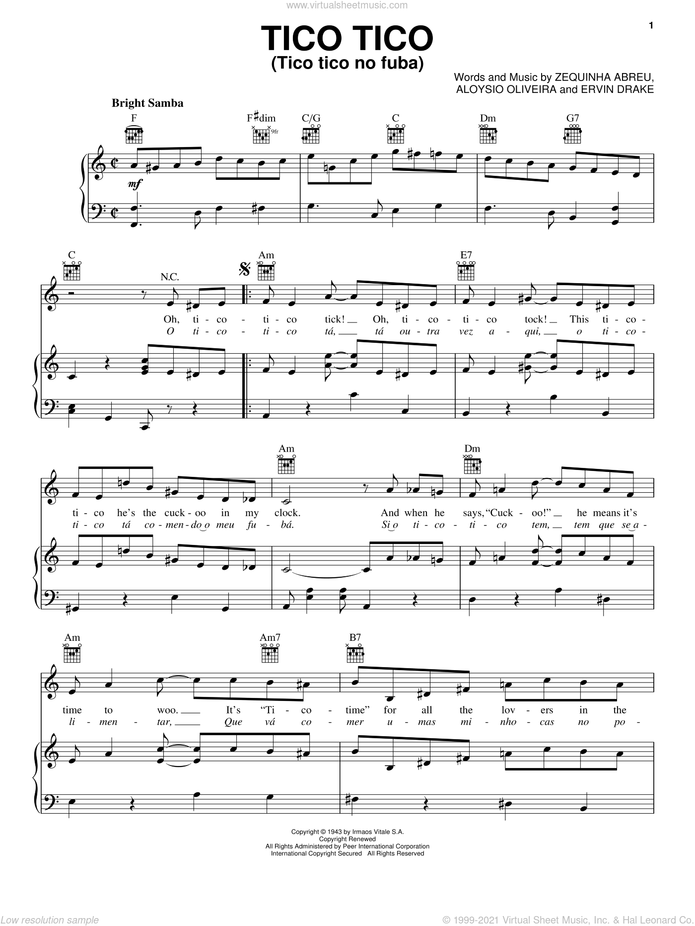 Tico Tico (Tico Tico No Fuba) sheet music for voice, piano or guitar by Ervin Drake