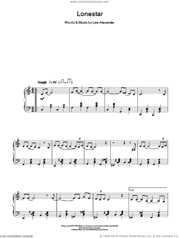 Lonestar sheet music for piano solo by Lee Alexander
