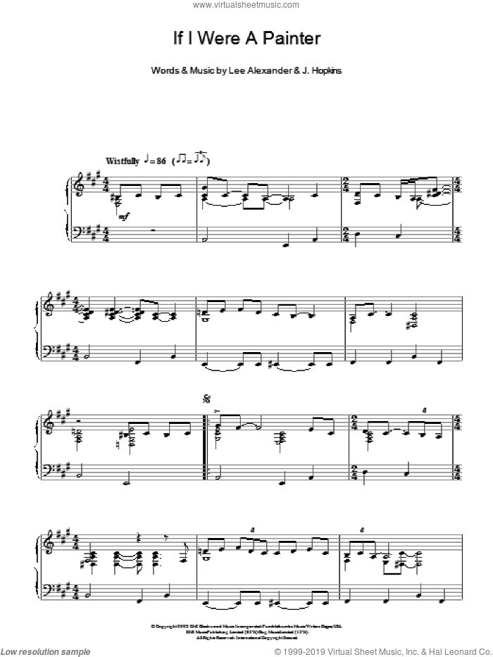 If I Were A Painter sheet music for piano solo by Lee Alexander and Norah Jones