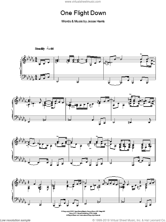 One Flight Down sheet music for piano solo by Jesse Harris