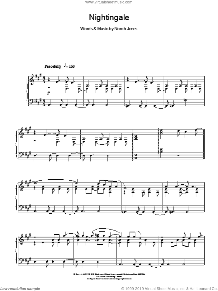 Nightingale sheet music for piano solo by Norah Jones, intermediate skill level