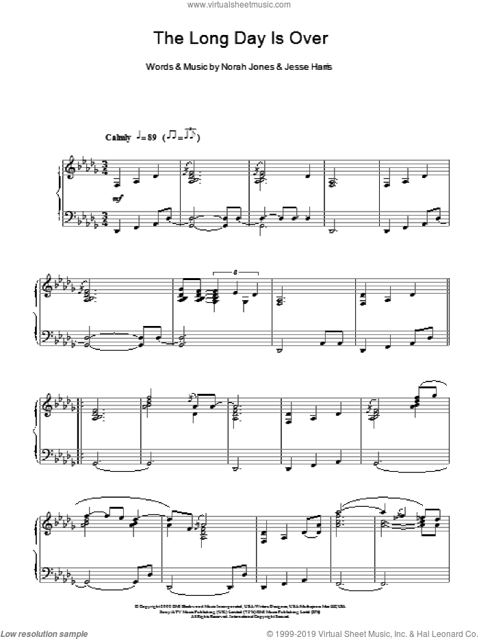 The Long Day Is Over sheet music for piano solo by Norah Jones and Jesse Harris, intermediate skill level