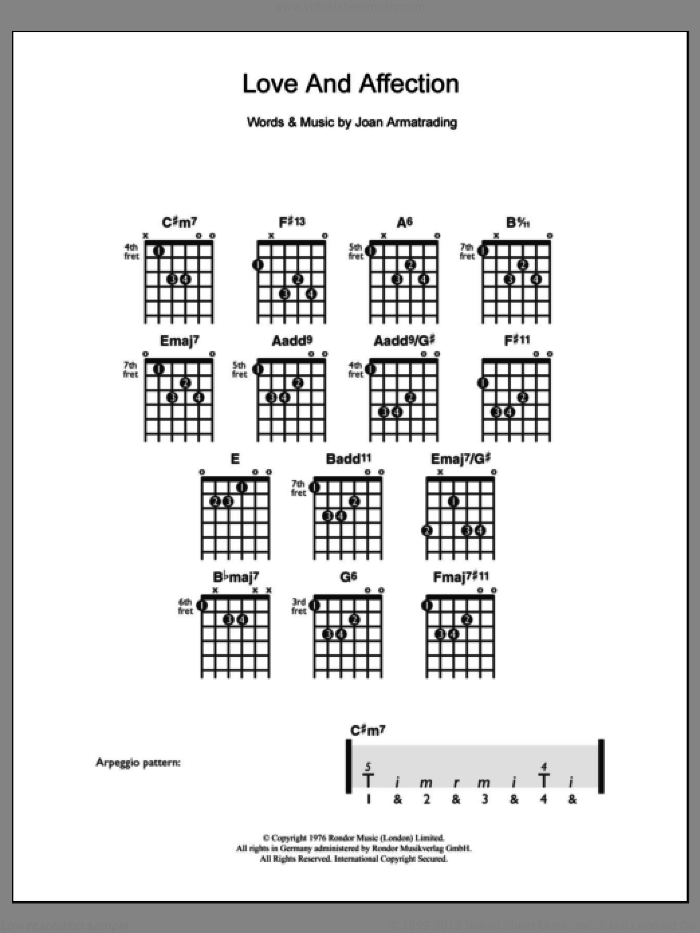 Love And Affection sheet music for guitar solo (chords) by Joan Armatrading, easy guitar (chords). Score Image Preview.