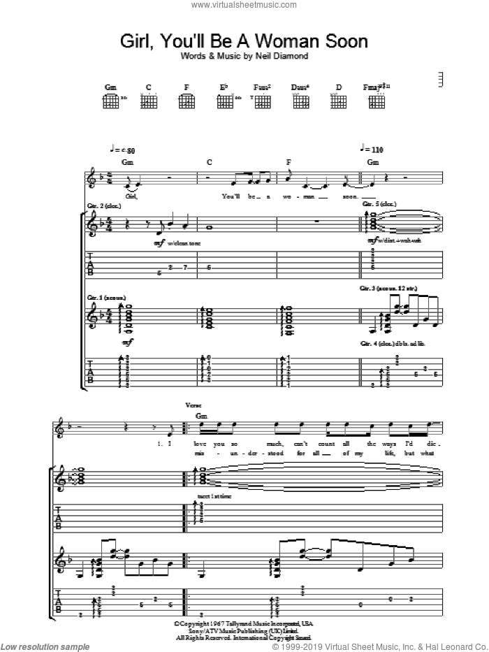 Girl, You'll Be A Woman Soon sheet music for guitar (tablature) by Urge Overkill and Neil Diamond. Score Image Preview.