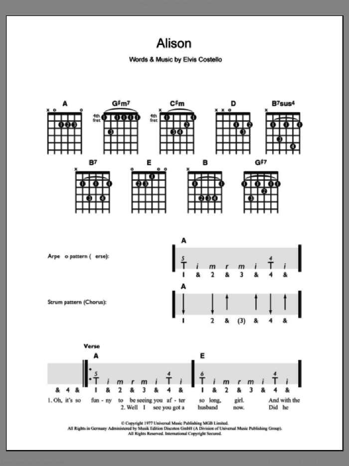 Alison sheet music for guitar solo (chords) by Elvis Costello