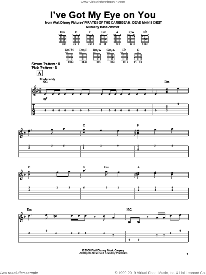 I've Got My Eye On You (from Pirates Of The Caribbean: Dead Man's Chest) sheet music for guitar solo (easy tablature) by Hans Zimmer, easy guitar (easy tablature)