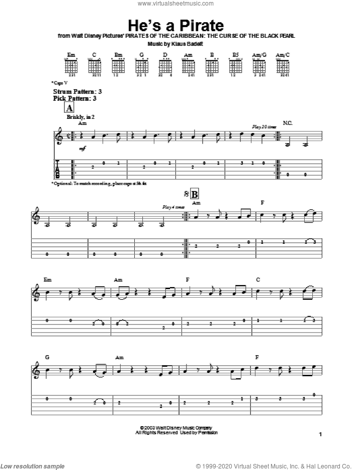 He's A Pirate (from Pirates Of The Caribbean: The Curse of the Black Pearl) sheet music for guitar solo (easy tablature) by Klaus Badelt and Pirates Of The Caribbean: The Curse Of The Black Pearl (Movie), easy guitar (easy tablature)