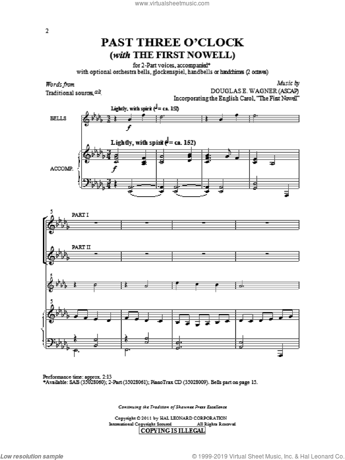 Past Three O'Clock sheet music for choir (duets) by Douglas E. Wagner. Score Image Preview.