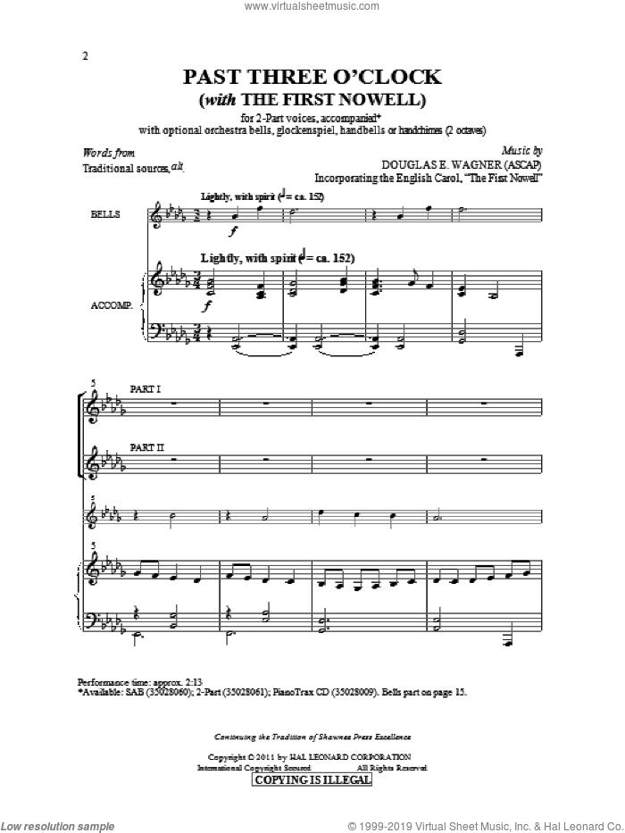 Past Three O'Clock sheet music for choir (2-Part) by Douglas E. Wagner, intermediate duet