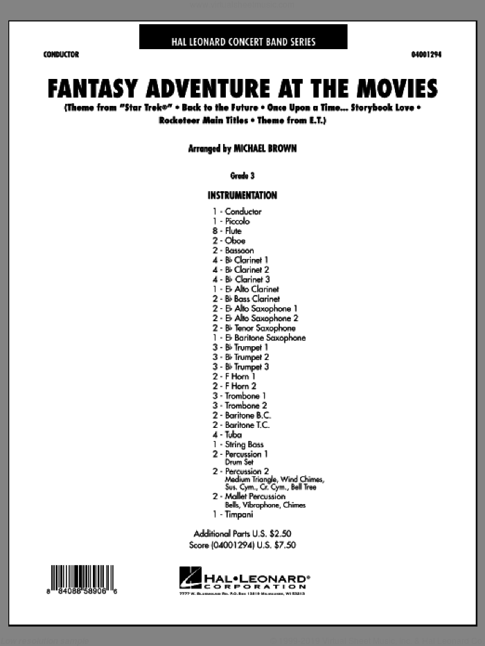 Fantasy Adventure At The Movies sheet music for concert band (full score) by Michael Brown