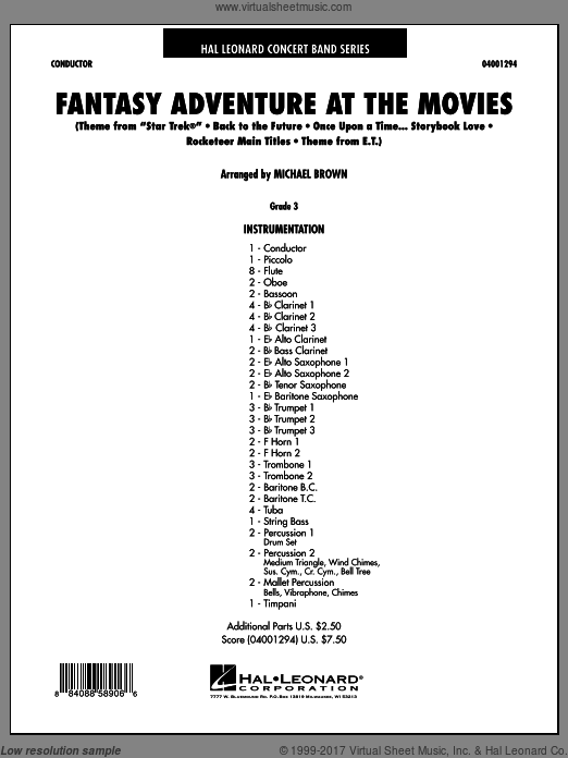 Fantasy Adventure At The Movies (COMPLETE) sheet music for concert band by Michael Brown
