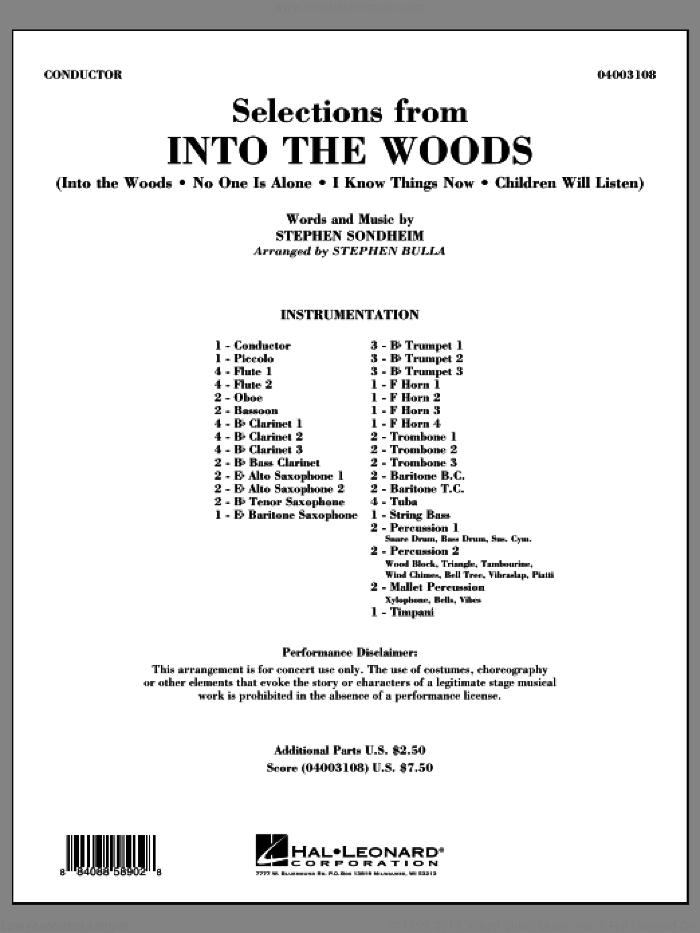 Selections from Into the Woods (COMPLETE) sheet music for concert band by Stephen Sondheim and Stephen Bulla, intermediate. Score Image Preview.