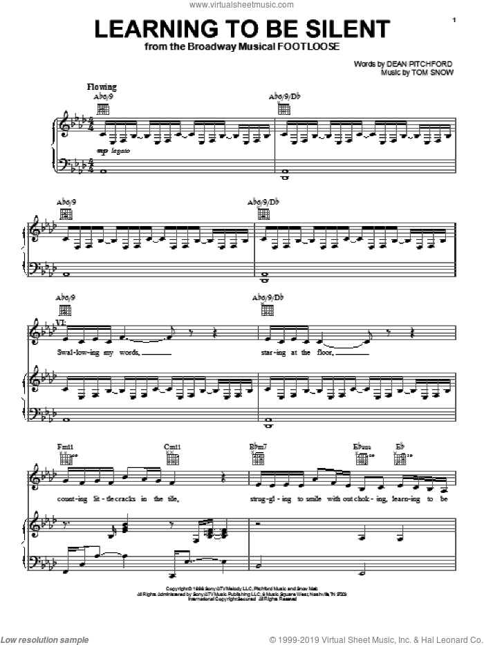 Learning To Be Silent sheet music for voice, piano or guitar by Dean Pitchford, Footloose (Musical) and Tom Snow, intermediate skill level