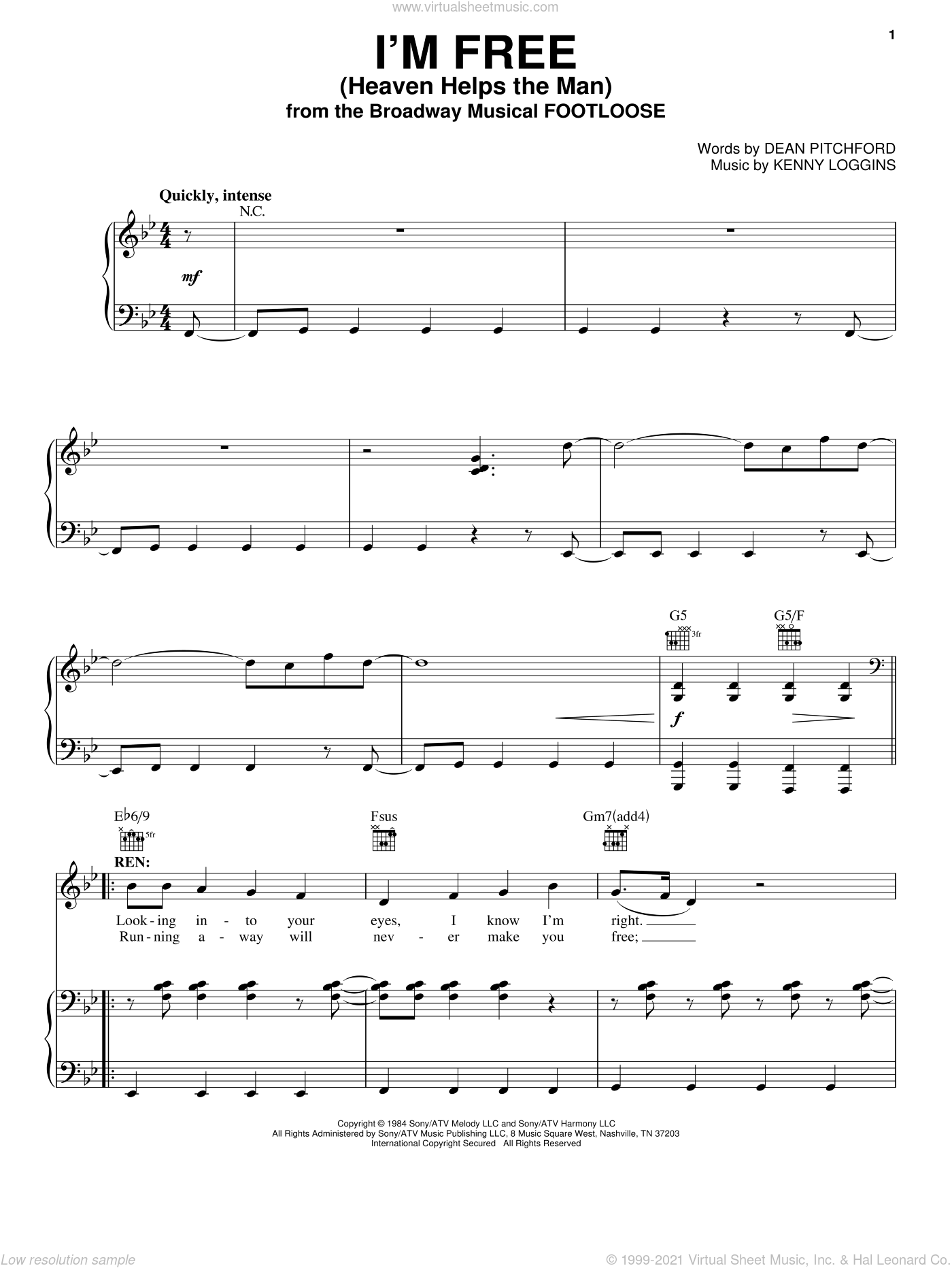 I'm Free (Heaven Helps The Man) sheet music for voice, piano or guitar by Dean Pitchford, Footloose (Musical), Kenny Loggins and Tom Snow, intermediate skill level