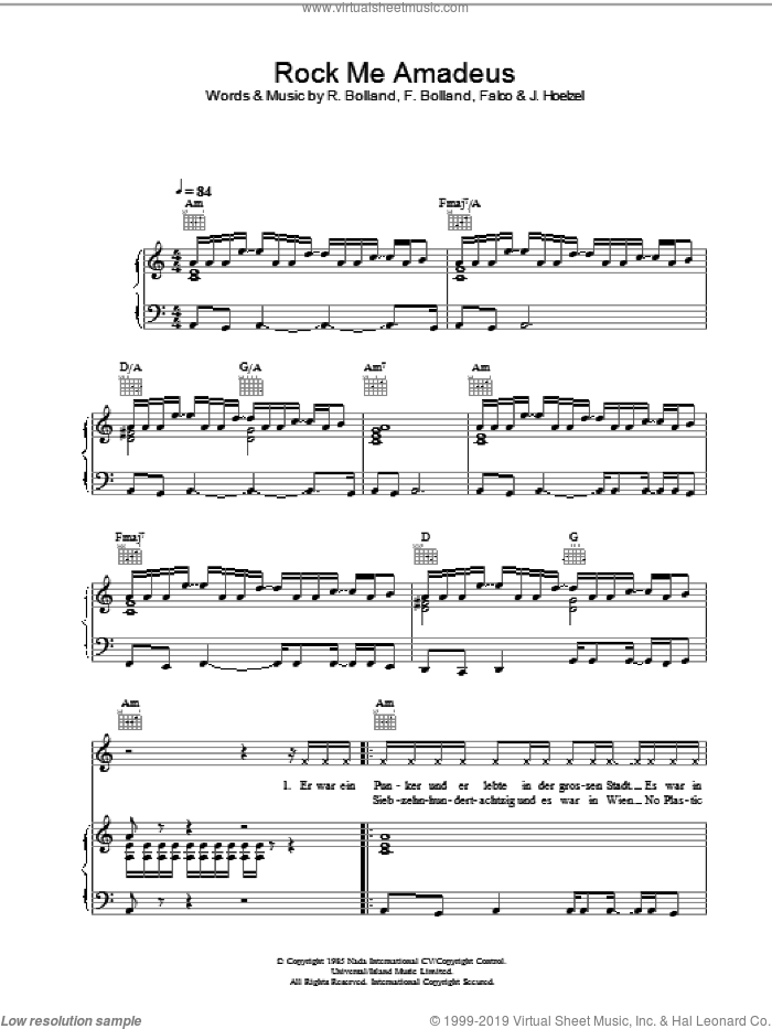 Rock Me Amadeus sheet music for voice, piano or guitar by Falco, F. Bolland, J. Hoelzel and R. Bolland, intermediate. Score Image Preview.