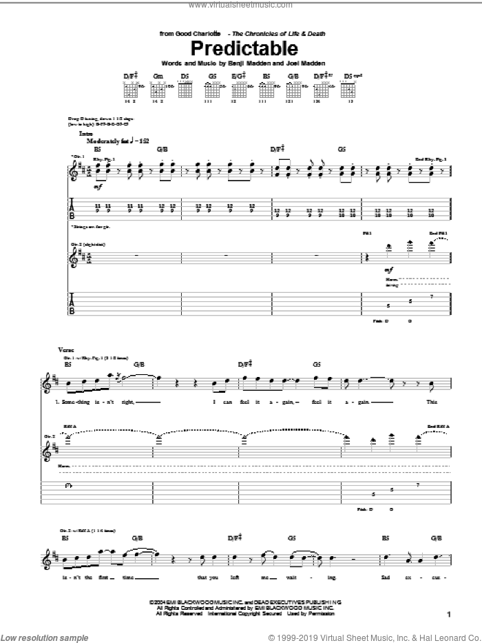 Predictable sheet music for guitar (tablature) by Good Charlotte. Score Image Preview.