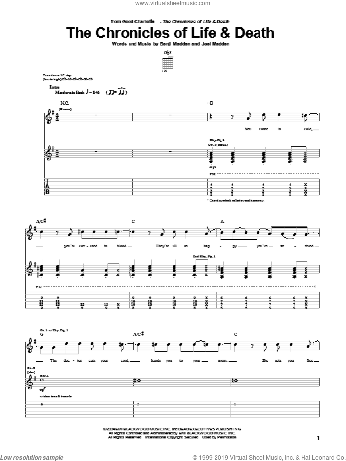 The Chronicles Of Life and Death sheet music for guitar (tablature) by Joel Madden
